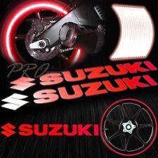 """8"""" Reflective Logo Decal+16""""17""""18"""" F+R Rim Tape/Wheel Stripe Sticker Suzuki Red"""