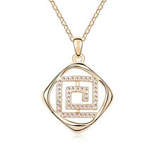 18K Gold GP Made With Swarovski Element Crystal Square Spiral Necklace White
