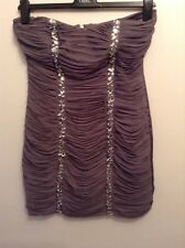 🌹 Lipsy🌹Size 10 Dark Grey to Purple Bandeau Embellished Short Dress