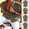 Mens  Leopard Printed Shirts Short Sleeve Casual Blouse Tops Party Holiday Tee