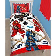 SINGLE BED DUVET COVER SET LEGO NINJA WARRIOR BLOCKS RED BLUE BLACK SWORDS KIDS