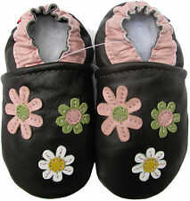 carozoo 3 flowers dark brown 12-18m soft sole leather baby girl shoes slipper