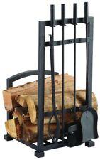 Fireplace Tool Set Woodstove Tools 5 Piece Log Holder Poker Tong Shovel Brush