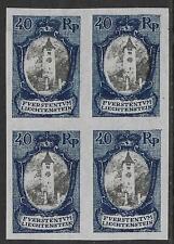 Liechtenstein stamps 1921 MI 57 Imperforated PROOF Bloc of 4 MNH VF