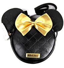 Disney Minnie Mouse Head Shaped Shoulder Strap Bag Bow Gold Black Bag Nwt