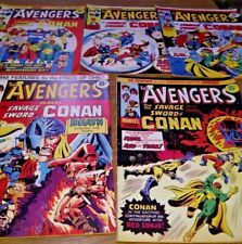 Marvel The Avengers and The Savage Sword Of Conan comics x 5
