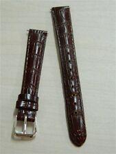 Cinturino orologio donna Vera pelle Marrone scuro 14 mm Fibbia cromata nuovo