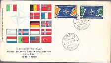 ITALIA BUSTA PRIMO GIORNO MILVIO 1959  NATO N.A.T.O. ANNULLO SPECIALE ROMA FDC
