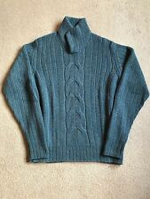 LORO PIANA BLUE MEZZOCOLLO CABLE KNIT BABY CASHMERE FAE1538 SIZE 50IT RRP £1,480