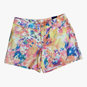Lane Bryant Colorful Watercolor Yellow Pink Green Ivory Print Shorts Size 18 NWT