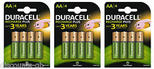 12 x Duracell AA Rechargeable Batteries - 1300 mAh PRE/ STAY CHARGE - HR6 4 Pack