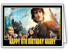 How to Train Your Dragon Boy Girl Personalised Birthday Card - any name & age