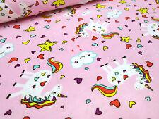 Stoff Baumwolle Jersey Einhorn Sterne Unicorn Herzen rosa bunt Kinderstoff