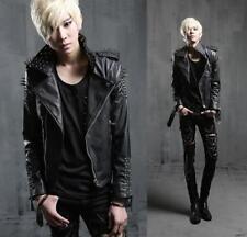 Mens Studs Spike Leather Coat motorcycle Biker Slim Jacket Parka Punk Outwear yh