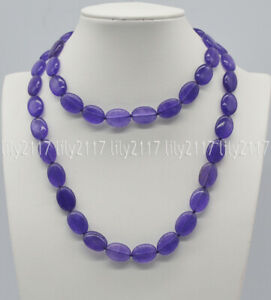 Pretty Natural 13x18mm Purple Amethyst Oval Gemstone Beads Necklaces 16-48'' AAA