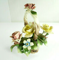 Vintage Capodimonte Nuova Pink Yellow Roses Porcelain Basket Sculpture Italy