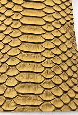 Vinyl Fabric Gold Faux Viper Snake Skin Leather Upholstery-3D Scales- The Yard.