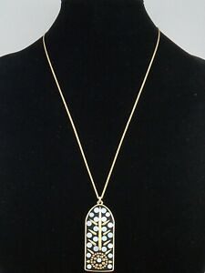Lucky Brand Goldtone Mother of Pearl Inlay Black Cathedral Pendant Necklace $49
