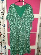 Brave soul size 16 lightweight green print midi button front dress