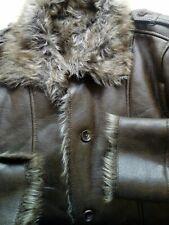 Ladies Faux Fur Faux Leather Warm Button Front Winter Jacket Size Large L