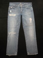 7 For All Mankind Jeans Womens Rickie Classic Boyfriend Crops Sz 25 Distressed