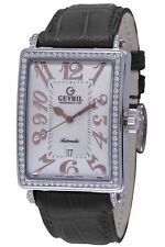 Gevril Women's 6309NV Watch Black Leather Rectangle MOP Dial Diamond