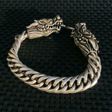 China  Old national style Tibet Silver Carve Pair dragon head Adjust Bracelet