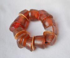 Vintage plastic chunk & brass bracelet cherry cola color ethnic bakelite? raw