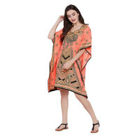 Tunic Top Peach Paisley Short Kaftan 3/4 Sleeve Plus Size Casual Mini Boho Dress
