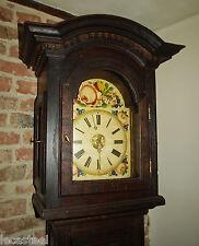 horloge contoise en chêne circa 1800 - pendule de parquet cadran peint à la rose