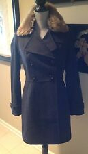 Banana Republic Grey Coat Removable Faux-Fur Collar Military-Inspired NWT XL