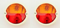 2x Round Vintage Tractor Rear Tail Lamp Light with Licence Plate window 12V