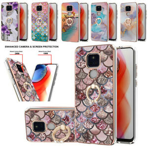 Fashion 3D Marble Phone Case Ring Stand Cover for Motorola Moto Edge 20 Pro Lite