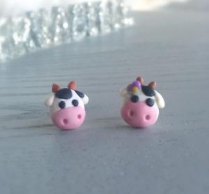 Milk Cow Earrings Adorable Clay Cow Couple Stud Earrings Surgical Steel Earrings