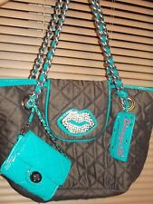 2pc Betsey Johnson Betseyville Quilted Tote Bag Purse (Lips) Matching Coin Purse