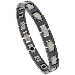 Tungsten Carbide 2-Tone Magnetic Bracelet w/ Diamond Faceted Rectangular Links