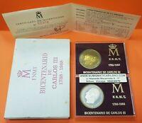 2 medallas ESPAÑA 1988 ESTUCHE FNMT CERTIF Bicentenario CARLOS III PLATA y LATON