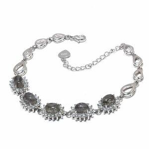 "Tourmalated Salt Paper Rutilated Quartz Cluster 925 Silver Bracelet 7-8"" F511"