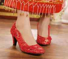 Womens Chinese Wedding bridal red embroidery heels shoes wedge stilettos Red New