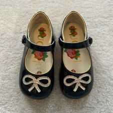 Gucci Navy Baby Girl Shoes With Crystal Bow Details Size 20