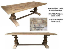 Parquetry Pedestal Rustic Recycled Elm wood Timber  Dining Table 200cm