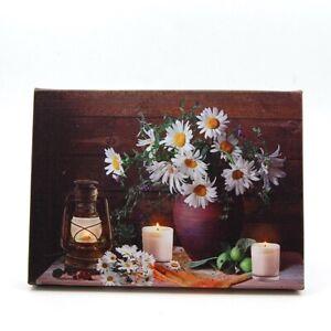 Gändeblümchen IN Vase Und Kerzen LED Beleuchtung Leinwand Oder Tischplatte Bild