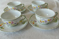Denby Limoges France -English Garden Scalloped Edge -Set of 4 Cup & Saucers