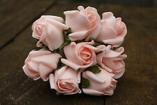8 x LIGHT BABY PINK COLOURFAST FOAM ROSE BUDS 2.5cm WEDDING FLOWERS