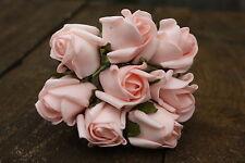 24 x LIGHT BABY PINK COLOURFAST FOAM ROSE BUDS 2.5cm WEDDING FLOWERS