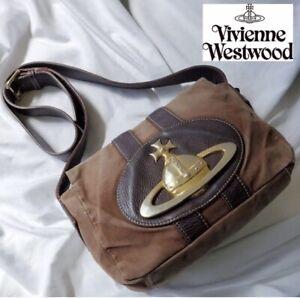 Vivienne Westwood Shoulder Bag Orb Metal Fittings Nylon Leather Brown Japan F/S