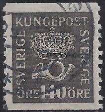 "Sweden Stamp - Scott #158/A18 140o Gray Black ""Crown & Post Horn"" Used/Lh 1920"