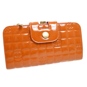 CHANEL Choco Bar CC Clutch Wallet Bag Purse Patent Leather Orange 8117639 A48477