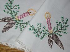 Alte Weihnachtsdecke  Tischdecke Mitteldecke 58 cm / 54  Weihnachten Handarbeit