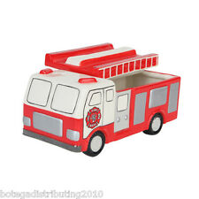 "Ceramic Fire Engine Cookie Jar Treat Canister 10"" X 5"" Kitchen Decor Fire Truck"